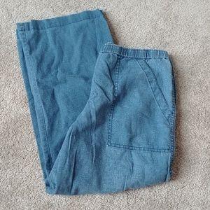 J.Crew Blue Linen Cotton Blend Pant Wide Leg XS